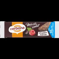 Cerbona étcsokoládés-málnás müzliszelet kakaós bevonó talppal, cukorral és édesítőszerrel 20 g (Pingvin Product)